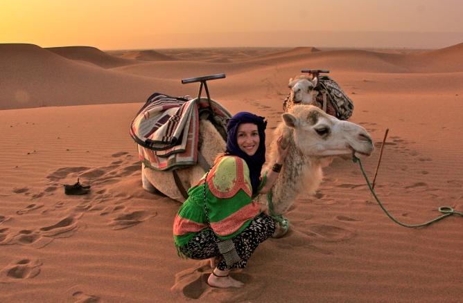 Sahara, Marokko kameliratsastus Erg chegaga